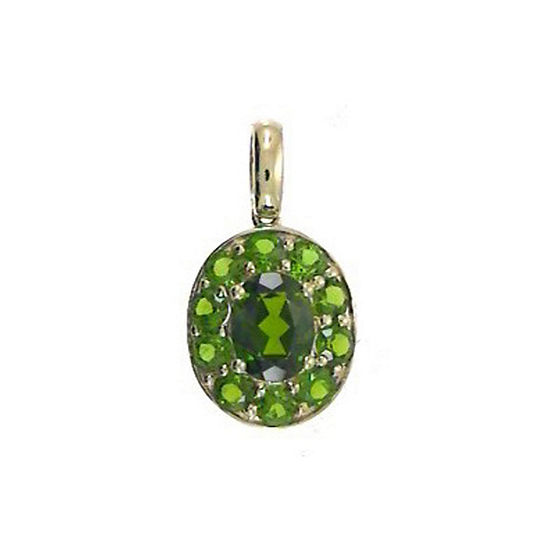 LIMITED QUANTITIES! Womens Genuine Green Chrome Diopside 14K Gold Pendant Necklace
