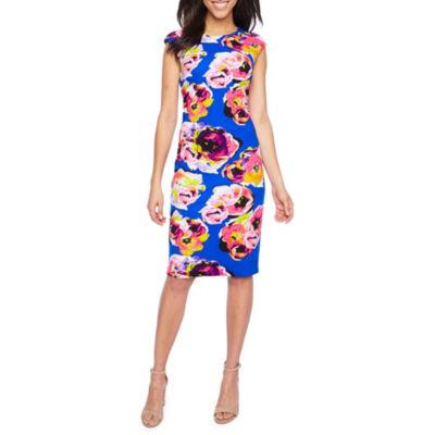 Chelsea Rose Sleeveless Floral Sheath Dress