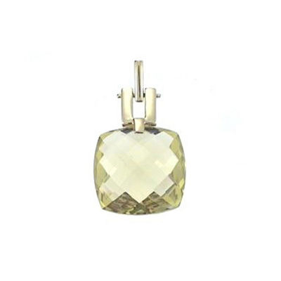 Womens Genuine Yellow Quartz 14K Gold Pendant Necklace