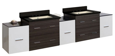90-in. W Wall Mount White-Dawn Grey Vanity Set For3H8-in. Drilling Black Galaxy Top Biscuit UM Sink