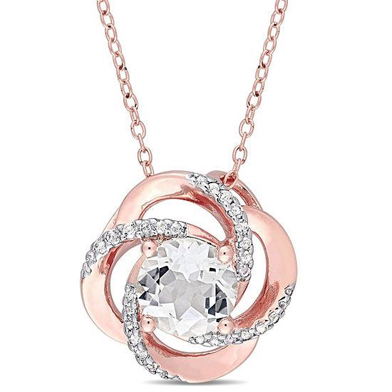 Womens Genuine White Topaz 18K Rose Gold Over Silver Pendant Necklace