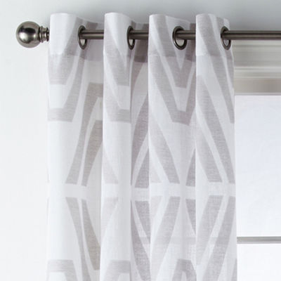 JCPenney Home Bayview Clip Grommet-Top Sheer Curtain Panel