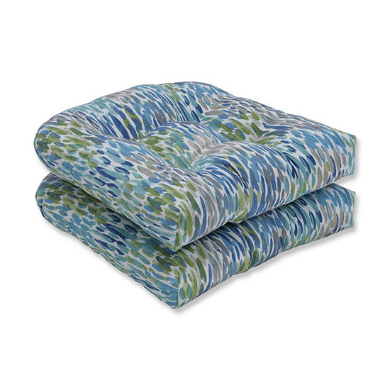 Pillow Perfect Set of 2 Make It Rain Cerulean Wicker Patio Seat Cushion