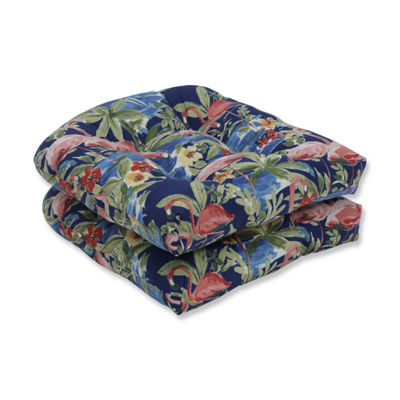 Pillow Perfect Set of 2 Flamingoing Lagoon Wicker Patio Seat Cushion