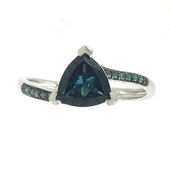 LIMITED QUANTITIES! Womens Diamond Accent Genuine Blue Topaz 10K Gold Cocktail Ring