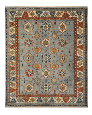 Hand-Knotted Wool Ivory Traditional Geometric Serapi Rug