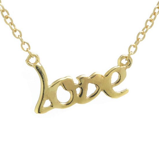 Silver Treasures Love Womens 24K Gold Over Silver Pendant Necklace