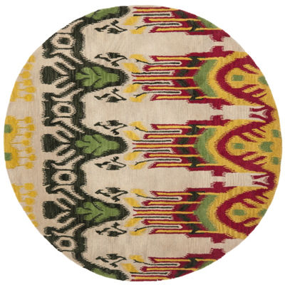Safavieh Ikat Collection Euclid Geometric Round Area Rug