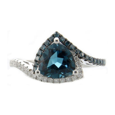 Womens 1/6 CT. T.W. Genuine Blue Blue Topaz 10K White Gold Cocktail Ring