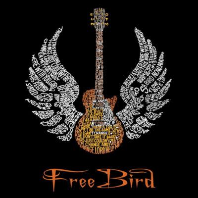 Los Angeles Pop Art Women's Raglan Word Art T-shirt - LYRICS TO FREEBIRD