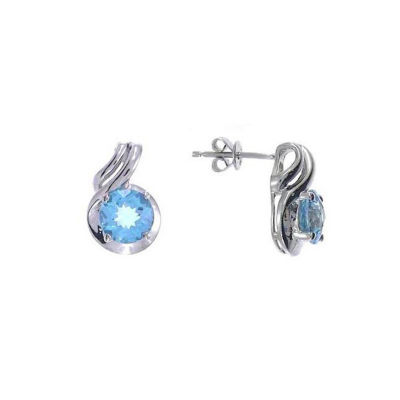 Genuine Blue Topaz Sterling Silver 14mm Stud Earrings