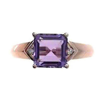 Womens Diamond Accent Genuine Purple Amethyst 10K Rose Gold Cocktail Ring