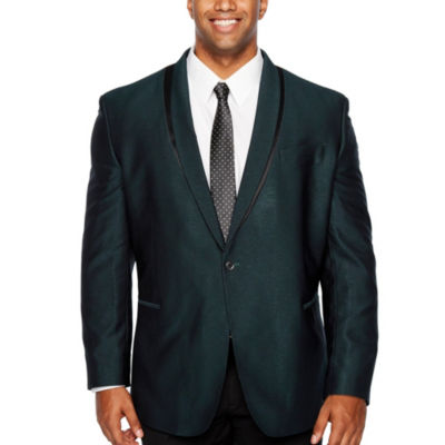 JF J.Ferrar Formal Stretch Teal Classic Fit Sport Coat - Big and Tall