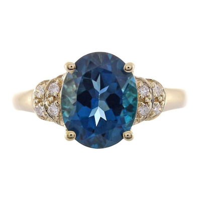 Womens Diamond Accent Blue Topaz 14K Gold Cocktail Ring