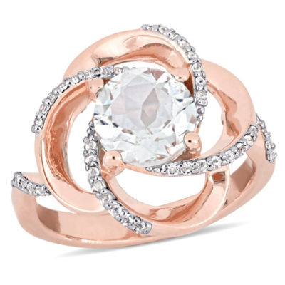 Womens Genuine White Topaz 18K Rose Gold Over Silver Cocktail Ring