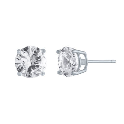 Lab Created White Sapphire Sterling Silver 7mm Stud Earrings