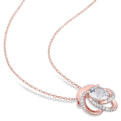 Womens Genuine White Topaz 18K Rose Gold Over Silver Pendant Necklace