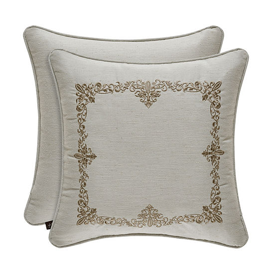 Queen Street Delphina 18x18 Embroidery Square Throw Pillow