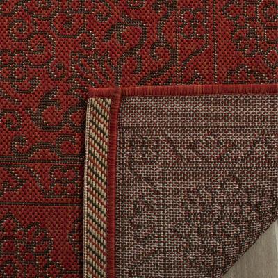Safavieh Courtyard Collection Trena Oriental Indoor/Outdoor Round Area Rug