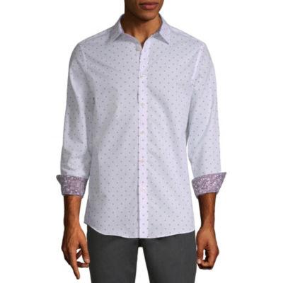 Axist Mens Long Sleeve Pattern Button-Front Shirt
