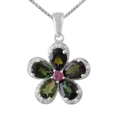 Womens Diamond Accent Green Tourmaline Sterling Silver Flower Pendant Necklace