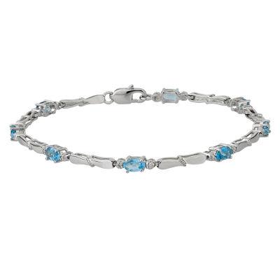 Womens Diamond Accent Blue Blue Topaz Sterling Silver Tennis Bracelet