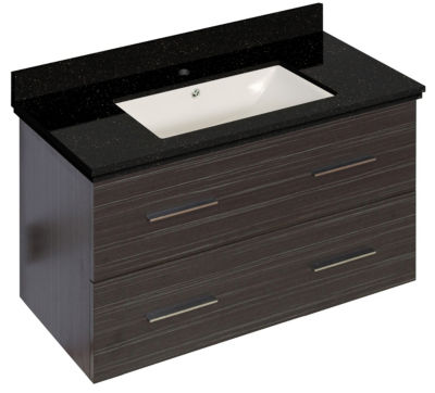 36-in. W Wall Mount Dawn Grey Vanity Set For 1 Hole Drilling Black Galaxy Top Biscuit UM Sink