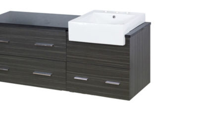 60.75-in. W Wall Mount Dawn Grey Vanity Set For 3H8-in. Drilling Black Galaxy Top