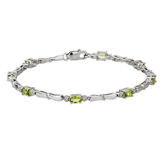 Diamond Accent Green Peridot Sterling Silver 7 Inch Tennis Bracelet