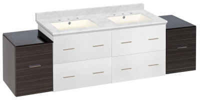 74.5-in. W Wall Mount White-Dawn Grey Vanity Set For 3H8-in. Drilling Bianca Carara Top Biscuit UM Sink
