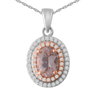Womens 1/6 CT. T.W. Champagne Morganite 10K White Gold Pendant Necklace
