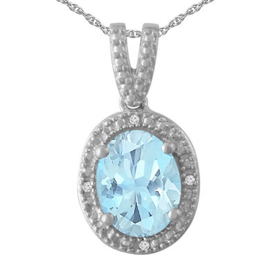 Womens 1/5 CT. T.W. Blue Aquamarine Sterling Silver Pendant Necklace