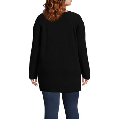 a.n.a Lace-Up Shoulder Detail Pullover Sweater - Plus