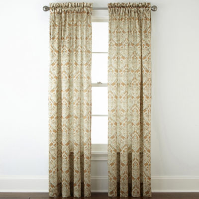 JCPenney Home Hilton Damask Rod-Pocket Curtain Panel