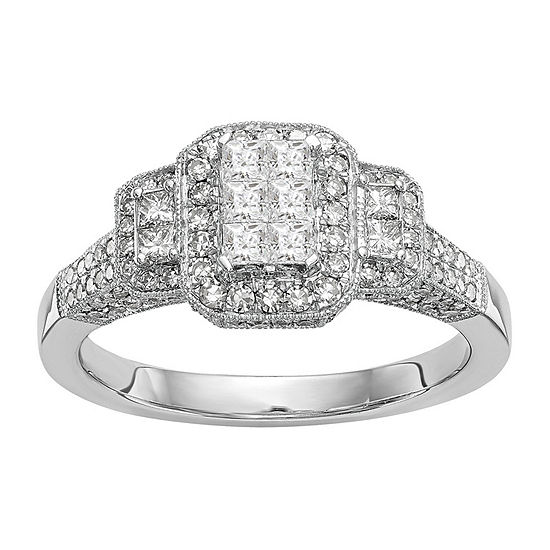 Womens 7/8 CT. T.W. Genuine White Diamond 14K White Gold Cluster Engagement Ring