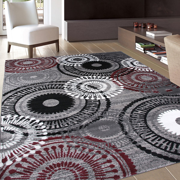 World Rug Gallery Contemporary Circles Area Rug