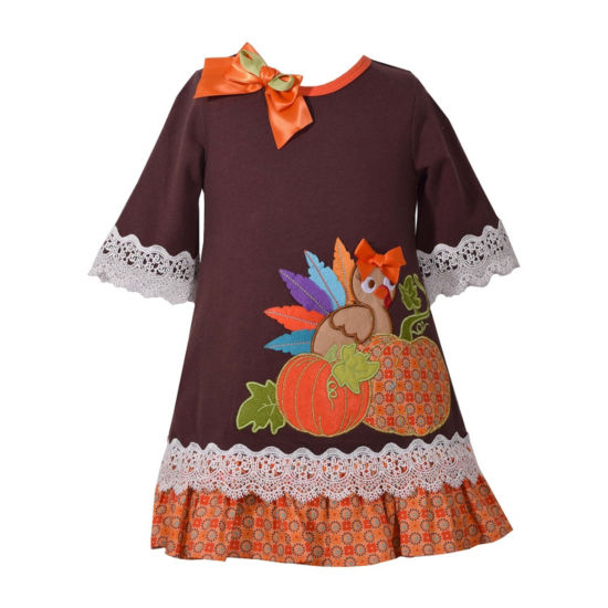 Bonnie Jean Long Sleeve Turkey Applique Dress - Baby Girls