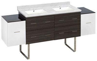 76-in. W Floor Mount White-Dawn Grey Vanity Set For 1 Hole Drilling Bianca Carara Top White UM Sink