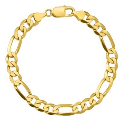 10K Gold 8 Inch Solid Figaro Chain Bracelet