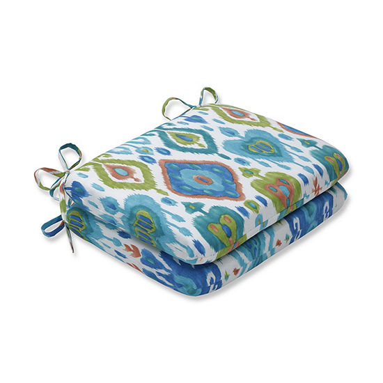 Pillow Perfect Set of 2 Paso Caribe Rounded Corners Patio Seat Cushion