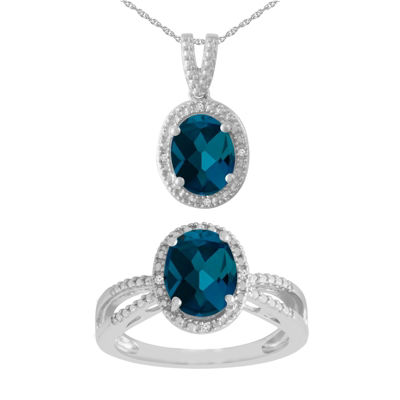 Womens Blue Topaz Sterling Silver 2-pc. Jewelry Set