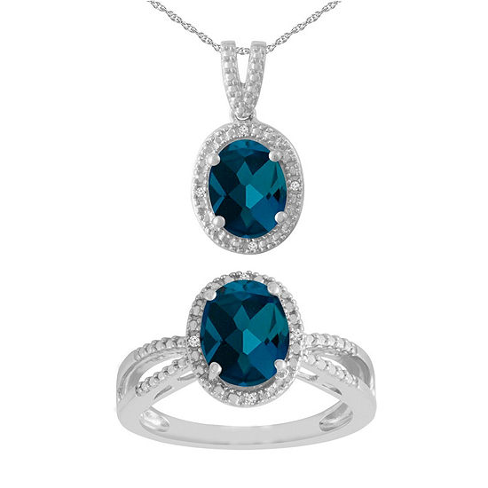 Diamond Accent Genuine Blue Topaz Sterling Silver 2-pc. Jewelry Set