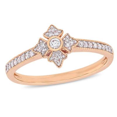 Womens 1/6 CT. T.W. Genuine White Diamond 10K Rose Gold Cluster Ring