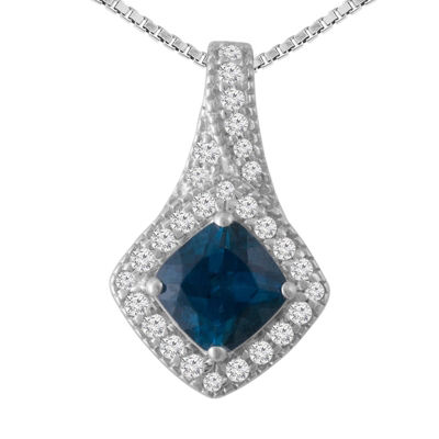 Womens Blue Blue Topaz Pendant Necklace