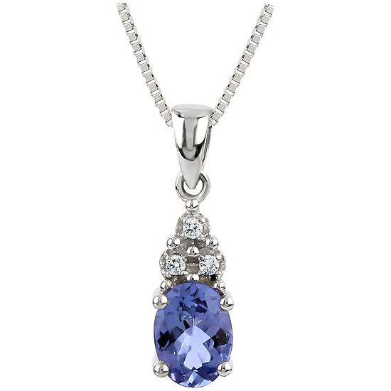 Womens Diamond Accent Genuine Purple Tanzanite Sterling Silver Pendant Necklace
