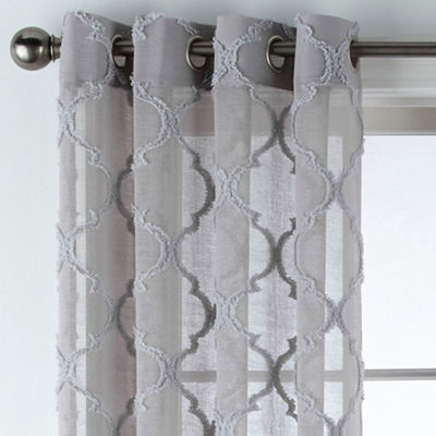 JCPenney Home Zuri Clipped Sheer Grommet-Top Curtain Panel