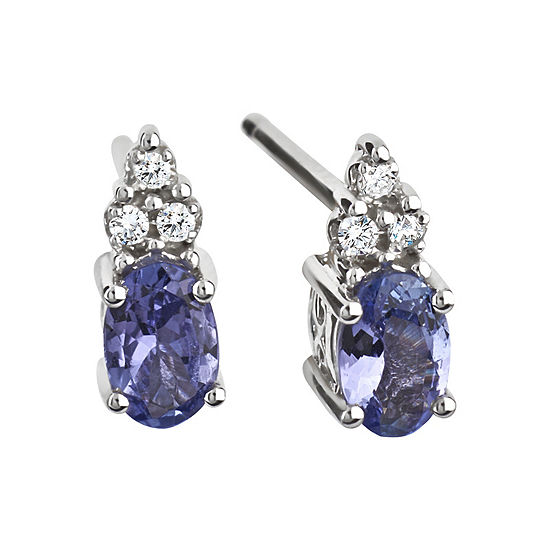 Diamond Accent Purple Tanzanite Sterling Silver 10mm Stud Earrings