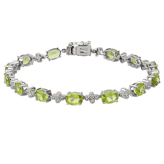 Diamond Accent Green Peridot Sterling Silver 7.25 Inch Tennis Bracelet