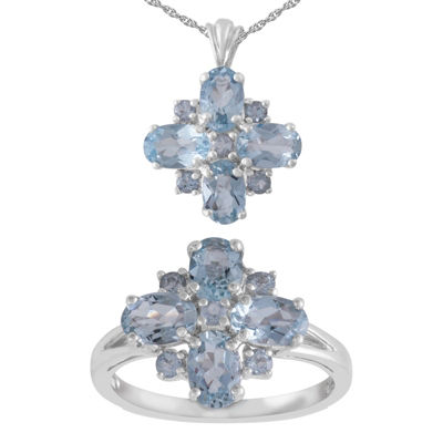 Womens 2-pack Blue Aquamarine Sterling Silver Jewelry Set