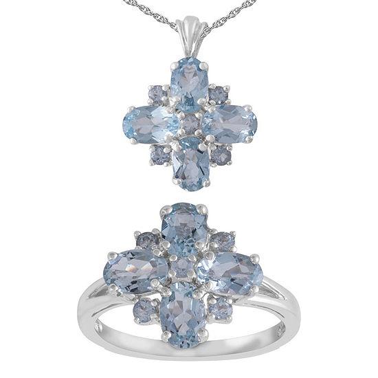 Blue Aquamarine Sterling Silver 2-pc. Jewelry Set